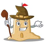 Witch sandcastle character cartoon style Royalty Free Stock Images