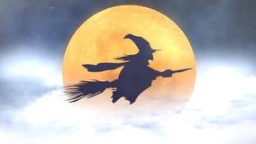 Witch Silhouette Flying Broom Past Orange Moon 4k Loop