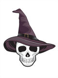 Witch Skull illustration for tattoo or t-shirt design Stock Photography
