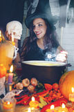 Witch with skull, tinted Royalty Free Stock Photos