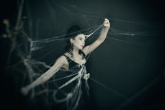 The witch sneaks through the web. Beautiful girl in the image of a witch preparing a magic potion. Carnival costume for Halloween Royalty Free Stock Image
