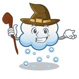 Witch snow cloud character cartoon Royalty Free Stock Photography