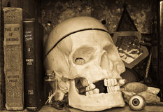 Witch Spooky Book Shelf - Halloween Still Life Royalty Free Stock Images
