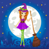 Witch Standing On Halloween Sky Royalty Free Stock Photos