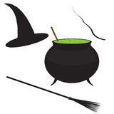 Witch Starter Kit. Witch's cauldron, broomstick, wand and hat isolated on a white background Stock Images
