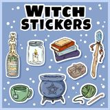 Witch stickers set. Collection of witchcraft labels. Wiccan symbols: cauldron, wand, candle, books vector illustration