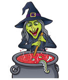 Witch Stirring Bubbling Cauldron Royalty Free Stock Photos