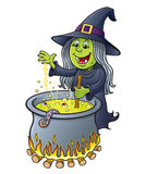 Witch Stirring Bubbling Cauldron. Cartoon illustration of a witch character stirring a hot bubbling cauldron filled with green liquid, eyeballs and tentacle Royalty Free Stock Photography
