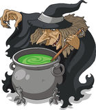 Witch stirring melting pot illustration Stock Images