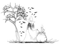 Witch stirring a potion in cauldron. Illustration Royalty Free Stock Photo