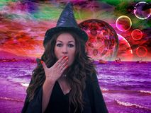 Witch is a surprise. Sorcery on royalty free stock photography