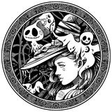 Witch surrounded by friendly ghosts Royalty Free Illustration