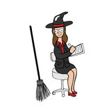 Witch taking note cartoon Royalty Free Stock Photography