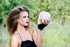 Witch talking skull Royalty Free Stock Images