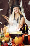 Witch throws an apple, tinted Stock Image