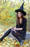 Witch on tomb stone Royalty Free Stock Image