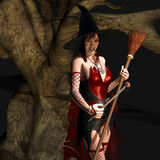 Witch in tree. 3d rendering of a witch with a broom and magic wand as an illustration Royalty Free Stock Images