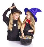 Witch  with trick or treat. Witch  children with trick or treat. Halloween Royalty Free Stock Photography