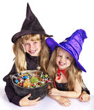 Witch  with trick or treat. Stock Photo