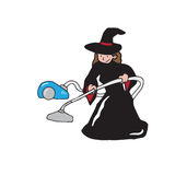 Witch vacuum cleaner Royalty Free Stock Image