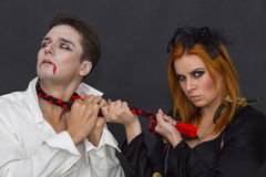 Witch and a vampire Royalty Free Stock Photography