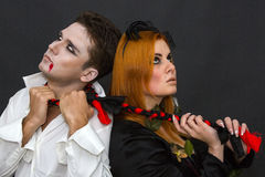 Witch and a vampire Stock Photos