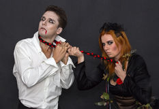Witch and a vampire Royalty Free Stock Images