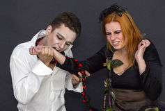 Witch and a vampire Stock Photo