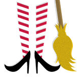 Witch vector. Illustration of witch feet and a broom vector Stock Photos