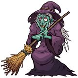 Witch. Vector illustration of Cartoon Witch holding broom Stock Photo