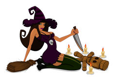 Witch with a voodoo doll. And knife vector illustration