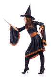 Witch with wand isolated Stock Photo