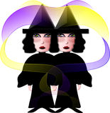 Witch Way?. Illustration of witch twins. Which Way? Witch Way Royalty Free Stock Photo