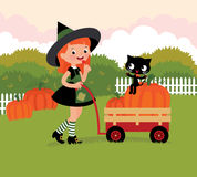 Witch with a wheelbarrow with pumpkins Stock Photography
