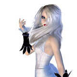 Witch in white dress Stock Images