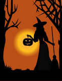 Witch With A Pumpkin Royalty Free Stock Photography