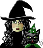 Witch and Wizard Kitty. Illustration of wizard cat and the witch with one green and red eye Royalty Free Stock Photos