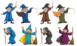Witch and wizard with magic wand Stock Photos