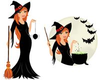 Witch woman. Orange haired witch with spider and bats Stock Images