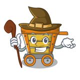 Witch wooden trolley mascot cartoon. Vector illustration vector illustration