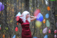 Witch in the woods on Halloween Royalty Free Stock Image