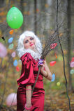 Witch in the woods on Halloween Stock Photo