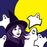 Witch in woods, halloween vector illustration. Halloween image of a wicked witch with ghosts with the moon on the background, vector illustration Stock Photography