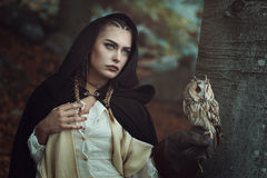 Witch of the woods with her owl. Beautiful witch of the woods with her owl familiar. Dark fantasy stock photos