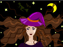 A Witch. A young sorcerer under the moon vector illustration