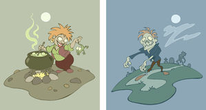 Witch and zombie. Two vector illustrations of halloween characters - a witch and a zombie Royalty Free Stock Image