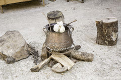 Witchcraft cauldron. Cauldron with potions and ointments witchcraft, witches Stock Photography