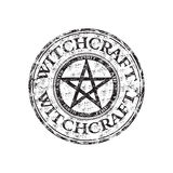 Witchcraft grunge rubber stamp. Black grunge rubber stamp with pentagram symbol and the text witchcraft written inside the stamp Stock Images