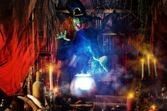 Witchcraft lady. Fairy wicked witch in the wizarding lair. Magic. Halloween Stock Photos