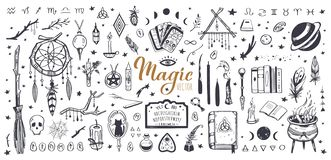 Free Witchcraft, Magic Background For Witches And Wizards. Wicca And Pagan Tradition. Vector Vintage Collection. Hand Drawn Royalty Free Stock Images - 163716519